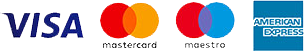 logos of supported credit cards including visa, mastercard, maestro and american express